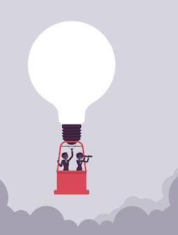 Geweldig idee heteluchtballon met gloeilamp en mensen uit het bedrijfsleven in de mand. zakenman, zakenvrouw zweeft hoog in de lucht, geniet van het bereiken van doel of doel. vectorillustratie, gezichtsloze karakters