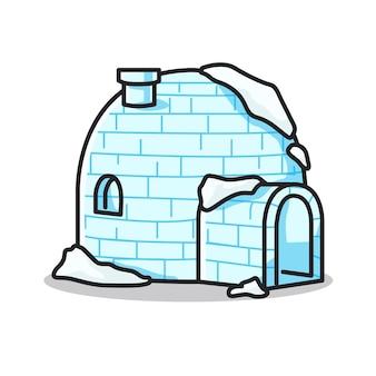 Geweldig iglo-ijshuis in schattige lijntekeningenillustratie