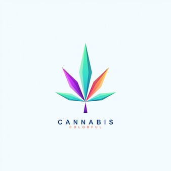 Geweldig kleurrijk cannabislogo