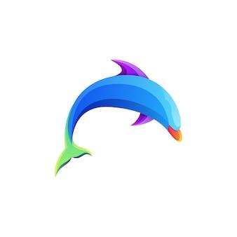 Geweldig kleurrijk vissen dolfijn verloop logo