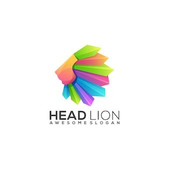 Geweldig leeuw logo kleurrijk verloop