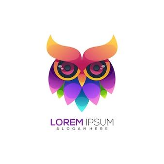 Geweldig logo uil kleurrijk verloop