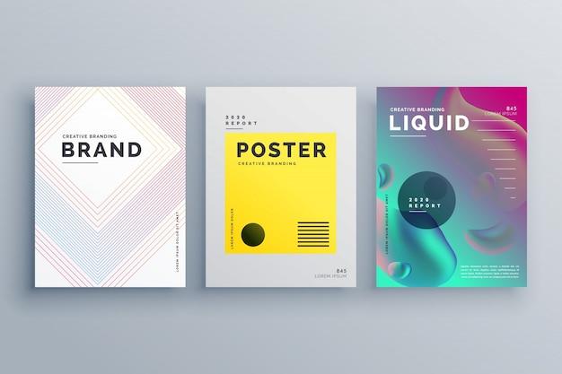 Geweldig minimalistisch brochure sjabloon ontwerp ingesteld met stijl van lijnen vloeibare kleuren in maat a4