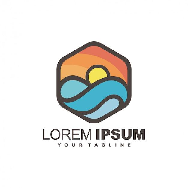 Geweldig modern logo-ontwerp bij zonsondergang
