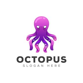 Geweldig octopus verloop logo ontwerpsjabloon