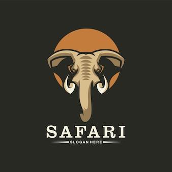 Geweldig olifantenkoplogo, safari-logo