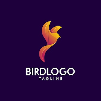 Geweldig paars vogel premium logo