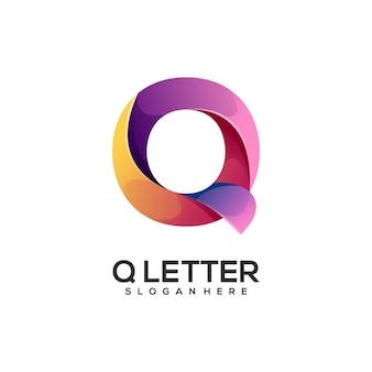Geweldig q brief logo kleurrijk verloop