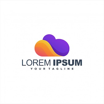 Geweldig verloop cloud logo ontwerp