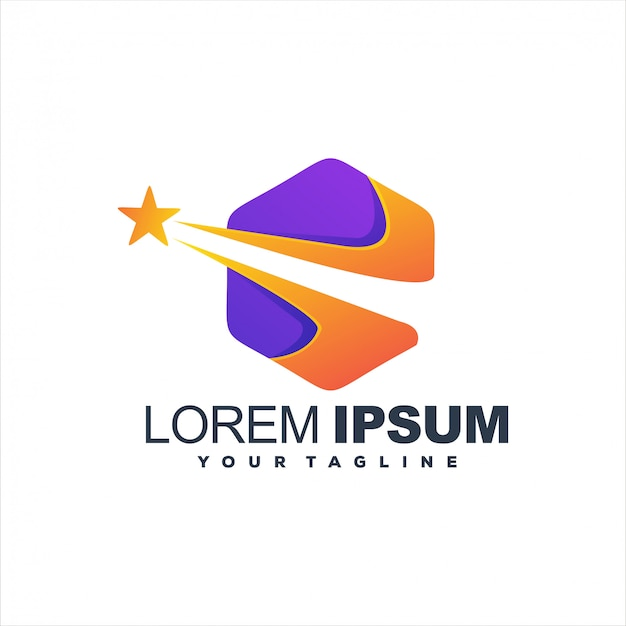 Geweldig zeshoek star-logo-ontwerp