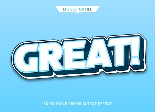 Geweldige 3d-bewerkbare tekststijleffect premium vector
