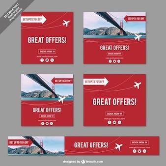 Geweldige aanbiedingen banners voor reizen