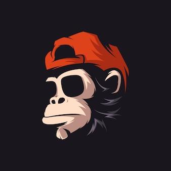 Geweldige aapglazen logo mascot illustratie