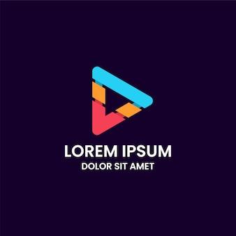 Geweldige abstracte kleurrijke play media-knop logo ontwerpsjabloon