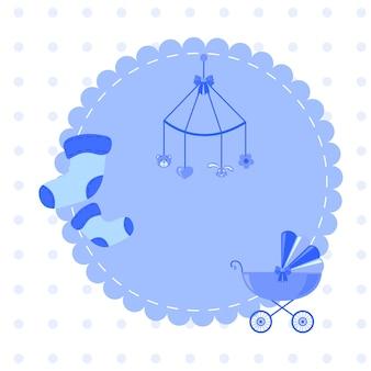 Geweldige babydouche of aankomstset. tags, banners, etiketten, kaarten met schattige kinderillustratie.
