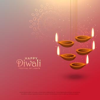 Geweldige diwali hanglampen festival achtergrond ontwerp