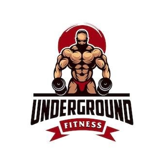 Geweldige gym spier logo vector