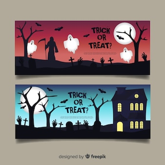 Geweldige halloween banners met plat ontwerp