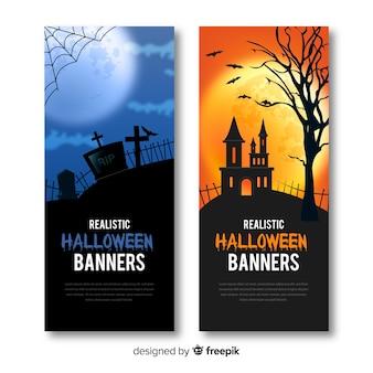 Geweldige halloween-banners met realistisch ontwerp