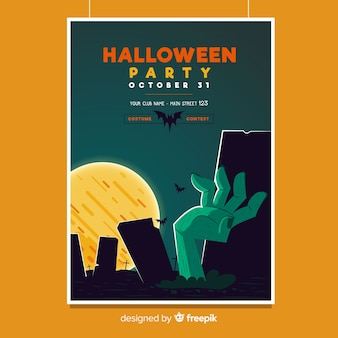 Geweldige halloween-partijaffiche met vlak ontwerp
