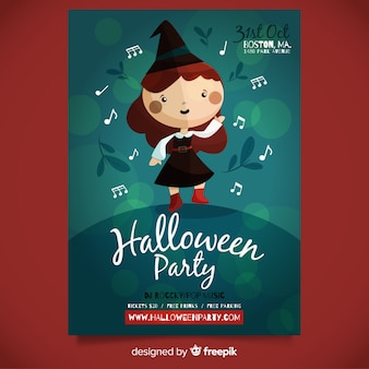 Geweldige halloween party poster sjabloon met platte ontwerp