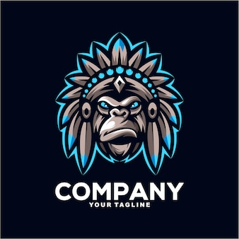 Geweldige indiase gorilla mascotte logo ontwerp illustratie