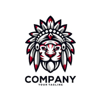 Geweldige indiase tijger mascotte logo ontwerp illustratie