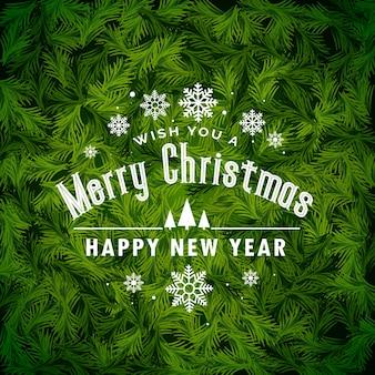 Geweldige kerst begroetende achtergrond gemaakt met fir verlaat