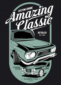 Geweldige klassieke, super klassieke auto-illustratie