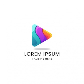Geweldige kleurrijke gradiënt afspeelknop logo pictogram premium vector