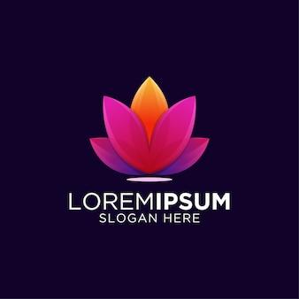 Geweldige kleurrijke gradiënt kunstwerk lotus logo sjabloon