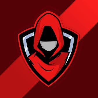 Geweldige mask man mascot logo premium