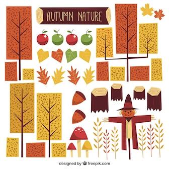 Geweldige set van geometrische herfst elementen