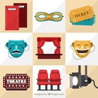 Geweldige theater items in plat design