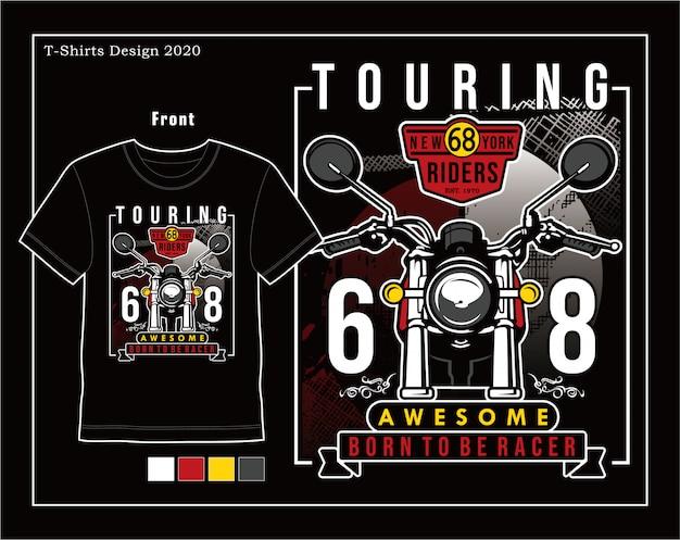 Geweldige touring, vector de illustratie grafisch ontwerp van de motorfietstypografie