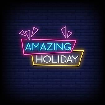 Geweldige vakantie neon tekenen stijl tekst