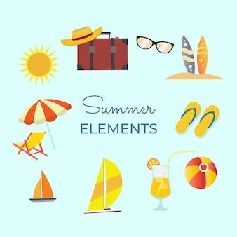 Geweldige verzameling zomerelementen