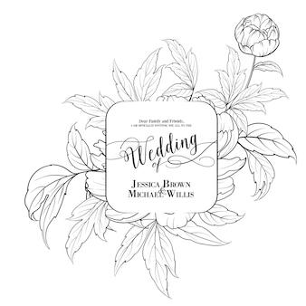 Geweldige vintage huwelijkskaart met peoniebloem