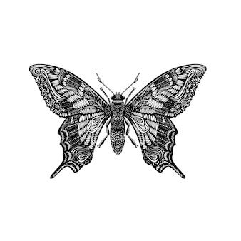 Geweldige vliegvlinder. creatief concept. zwart en wit