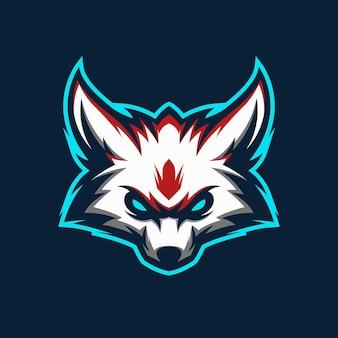 Geweldige witte wolf vos hoofd logo mascotte vector illustratie