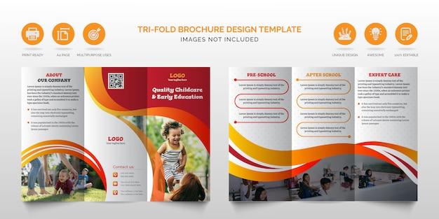 Geweldige zakelijke moderne oranje en rode multifunctionele gevouwen brochure of kinderverzorging zakelijke driebladige brochure ontwerpsjabloon