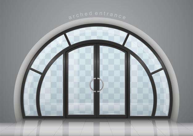 Gewelfde deur met raam