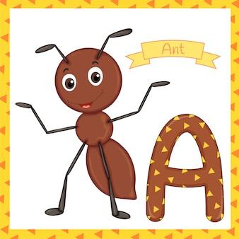 Geweven vet lettertype alfabet a, a voor ant-cartoon