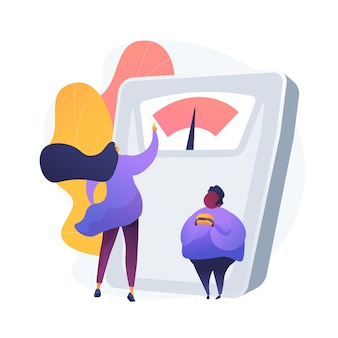 Gewicht verliezen. vrouwelijke voedingsdeskundige stripfiguur. afvallen, afvallen, diëten. calorieën tellen. overgewicht man met hamburger.