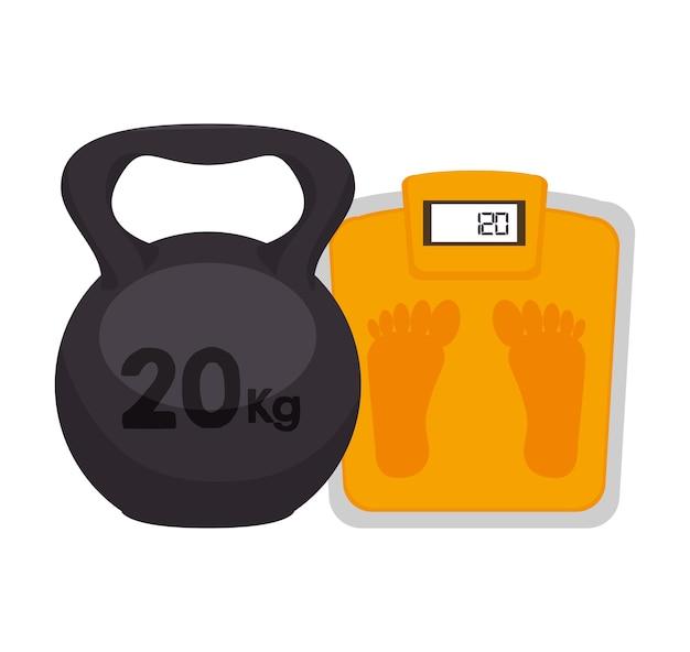 Gewichtheffen apparatuur pictogram vector illustratie ontwerp