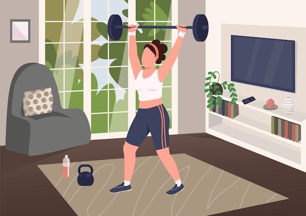 Gewichtheffen thuis egale kleur illustratie