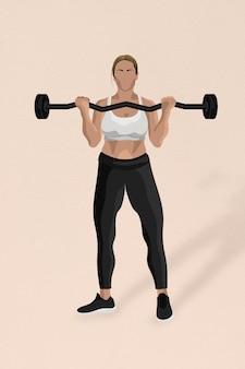 Gewichtheffende vrouw met barbelltraining in minimalistische stijl