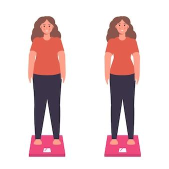 Gewichtsproblemen of gewichtsverlies dieetprogramma concept Premium Vector