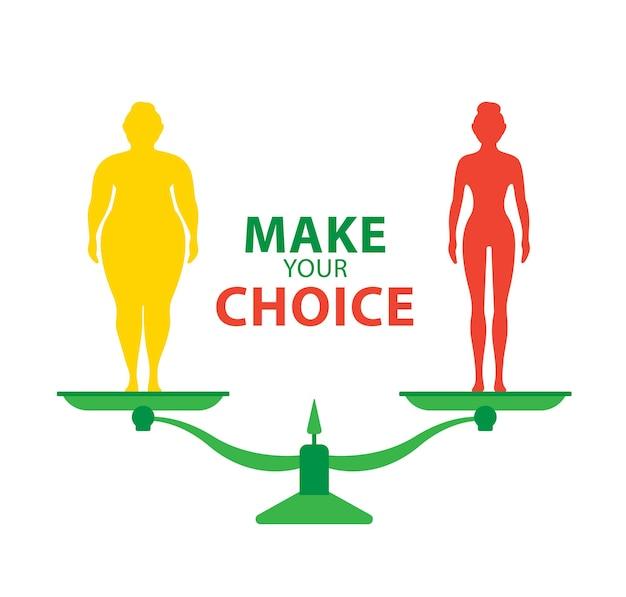 Gewichtsverlies concept dikke en dunne vrouw