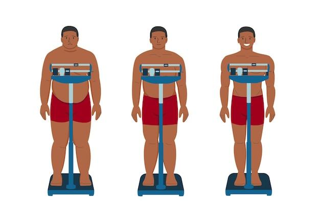 Gewichtsverlies dikke patiënt zwarte man platte cartoon jonge trieste persoon met overgewicht en gelukkig persoon